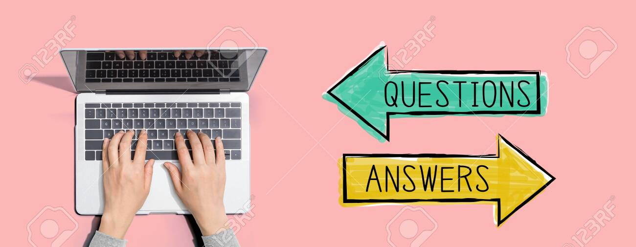 Questions and answers with person using a laptop computer - 133606163