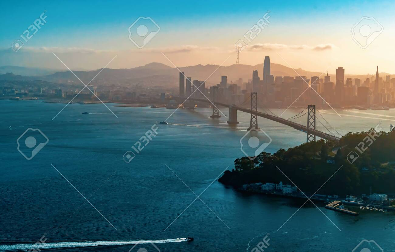 Aerial view of the Bay Bridge in San Francisco, CA - 134206739