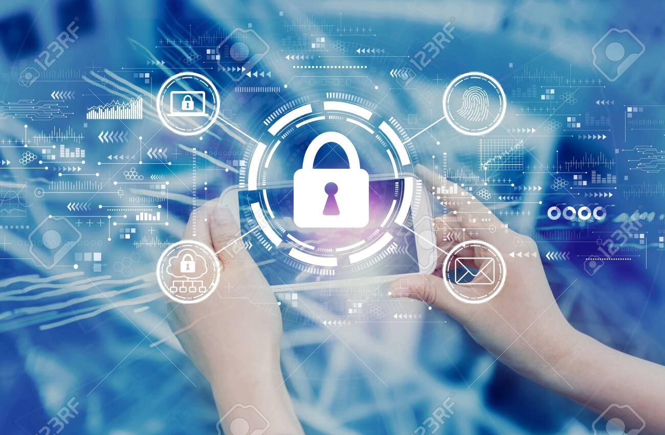 Internet network security concept with person using a smartphone - 139585744