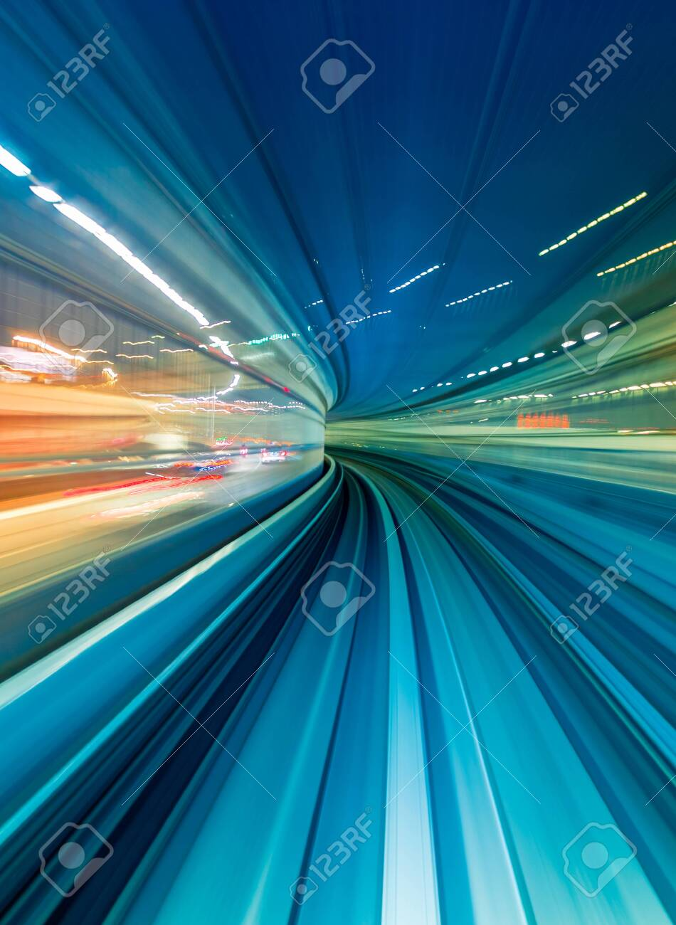 Abstract high speed technology POV train motion blurred concept from the Yuikamome monorail in Tokyo, Japan - 152850631