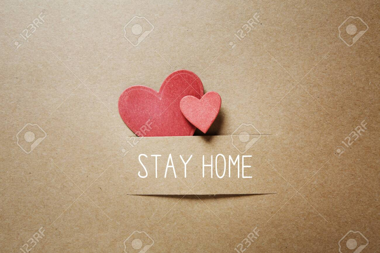 Stay home theme with handmade small paper hearts - 153344231