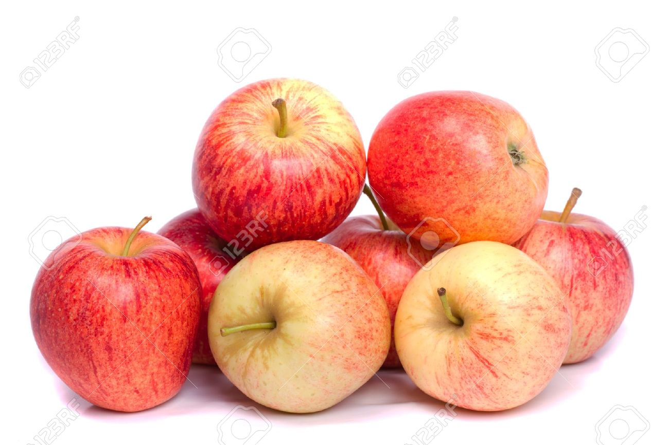 Close up view of a bunch of royal gala apples isolated on a white background. Stock Photo - 10666030