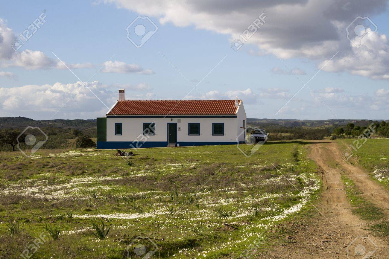 Landscape view of a traditional house with dirt road on the countryside of Alentejo. Stock Photo - 17427589