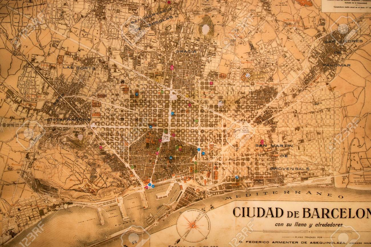 Barcelona Spain 22nd May 2015 Ancient Map Of Barcelona City