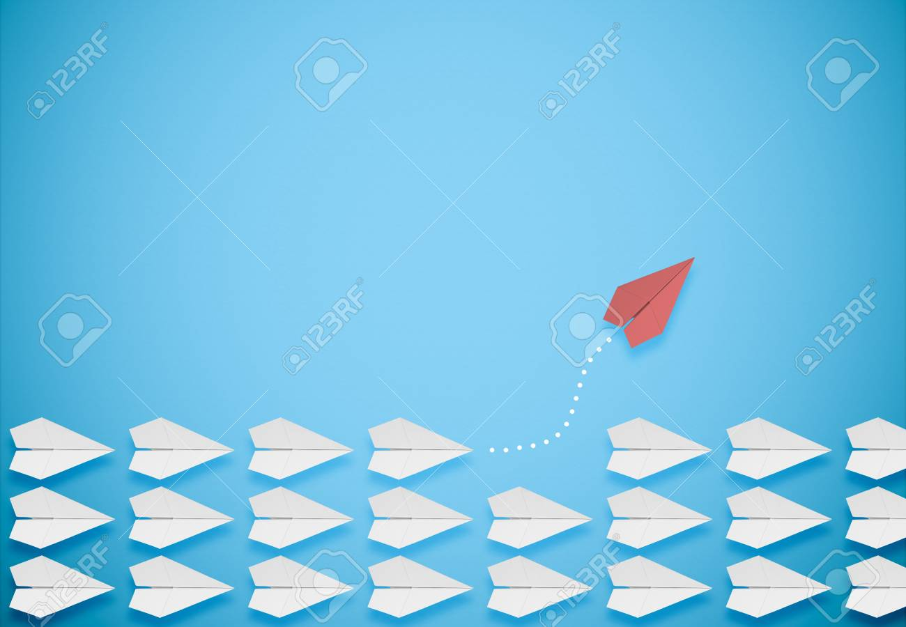 different thinking concept.red paper plane leaving the group - 126509484