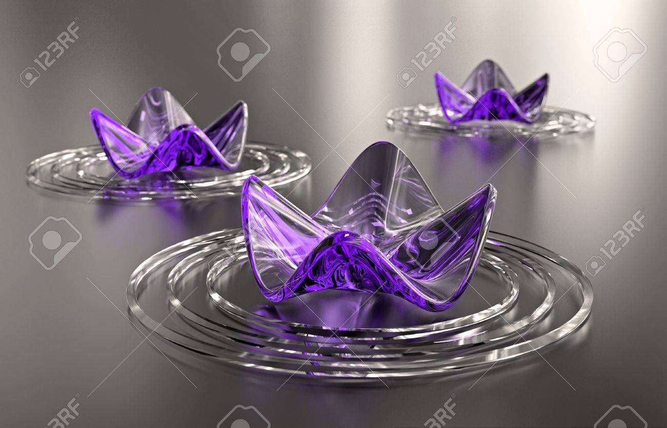 Zen background. Three abstract purple water lilies, with copy space. A computer generated, high resolution image. Stock Photo - 9448468