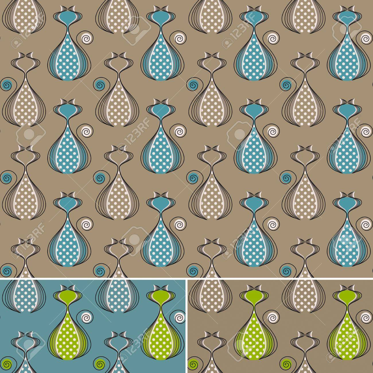 Seamless Pattern With Stylized Cats Abstract Background In Three Color Combinations No Gradients