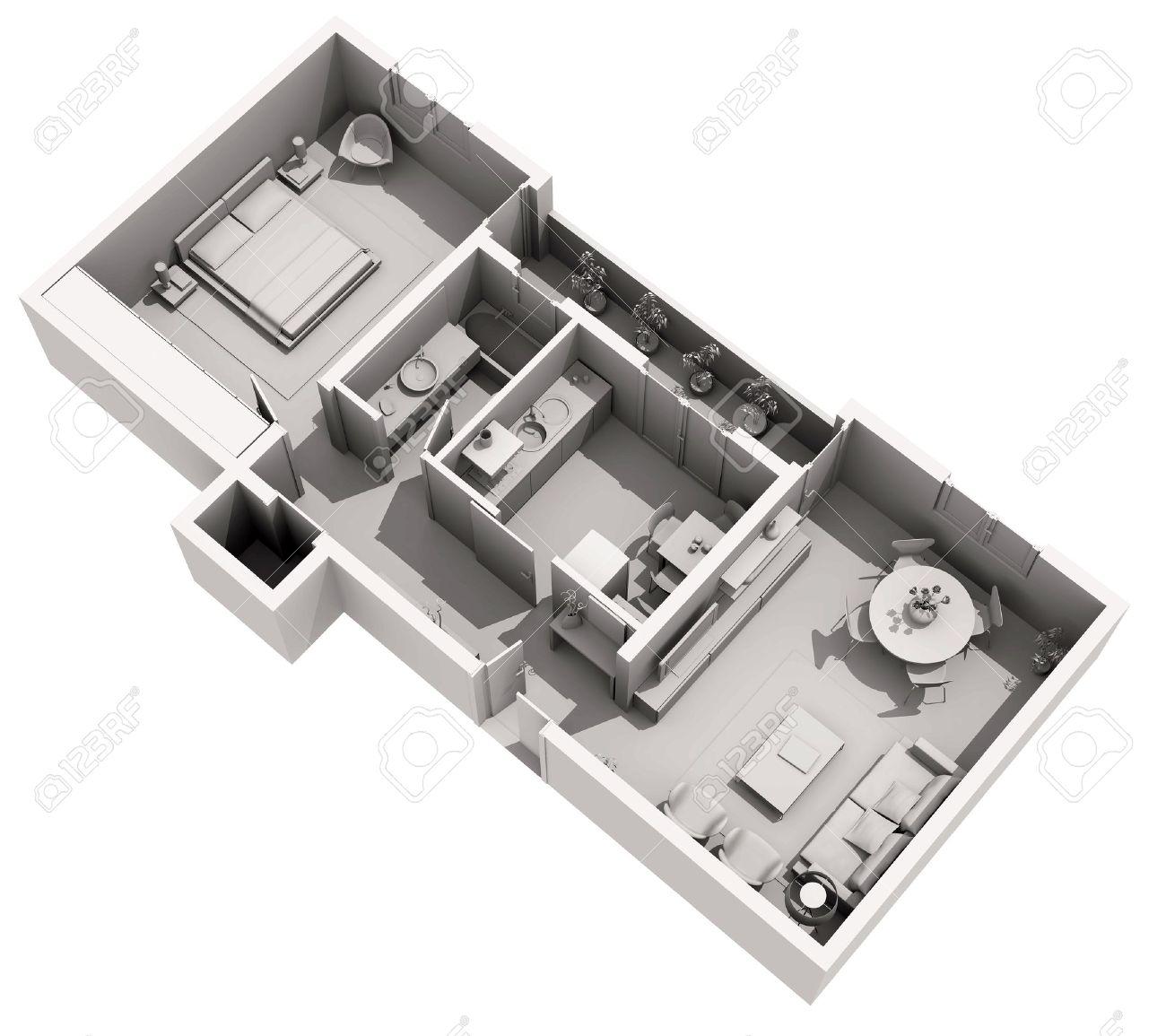 Interior design home projects - Modern Interior Design 3d Home Project Banco De Imagens 13615617