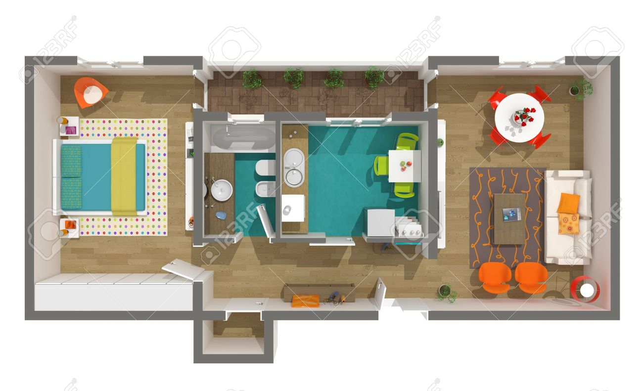 floor plan  Modern interior design   3d home project   rendered cozy  apartment 3D sectioned. Floor Plan Images   Stock Pictures  Royalty Free Floor Plan Photos