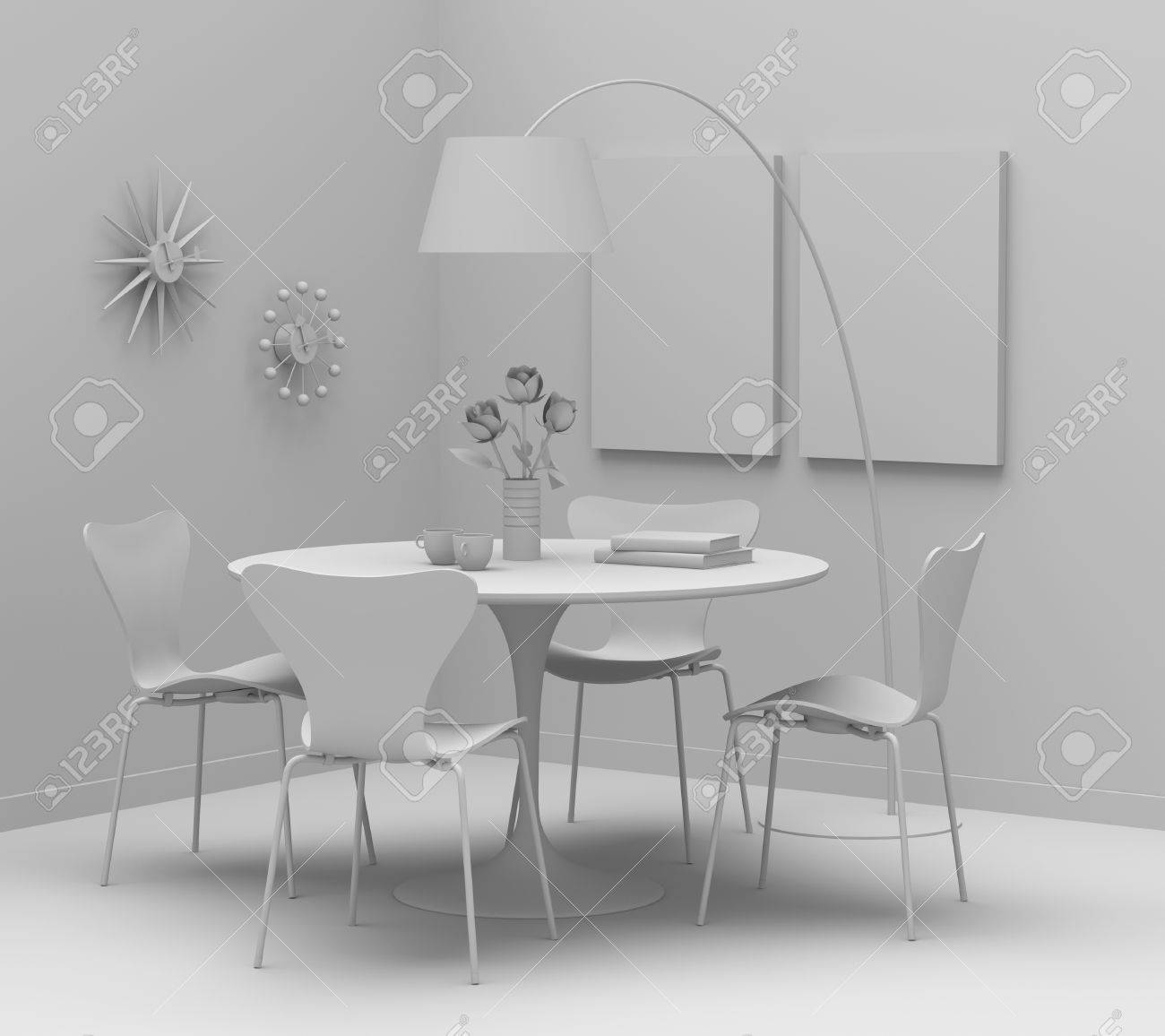 Home Interior Design Retro Furniture Clay Render Stock Photo