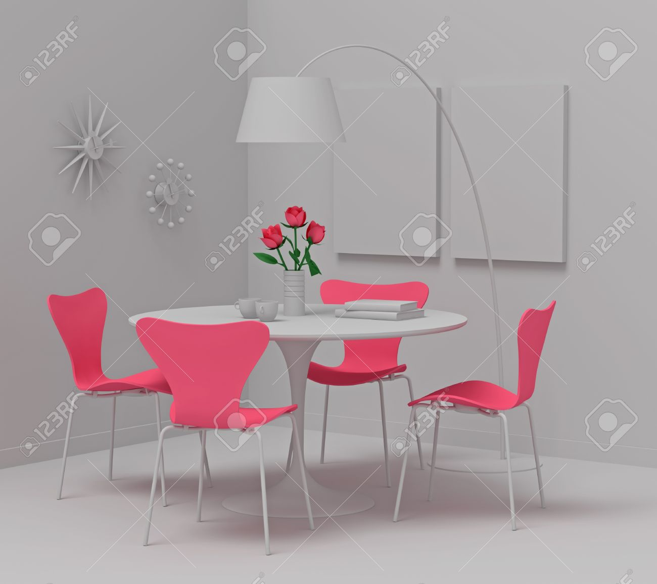 Home Interior Design Retro Furniture Clay Render With Pink Stock