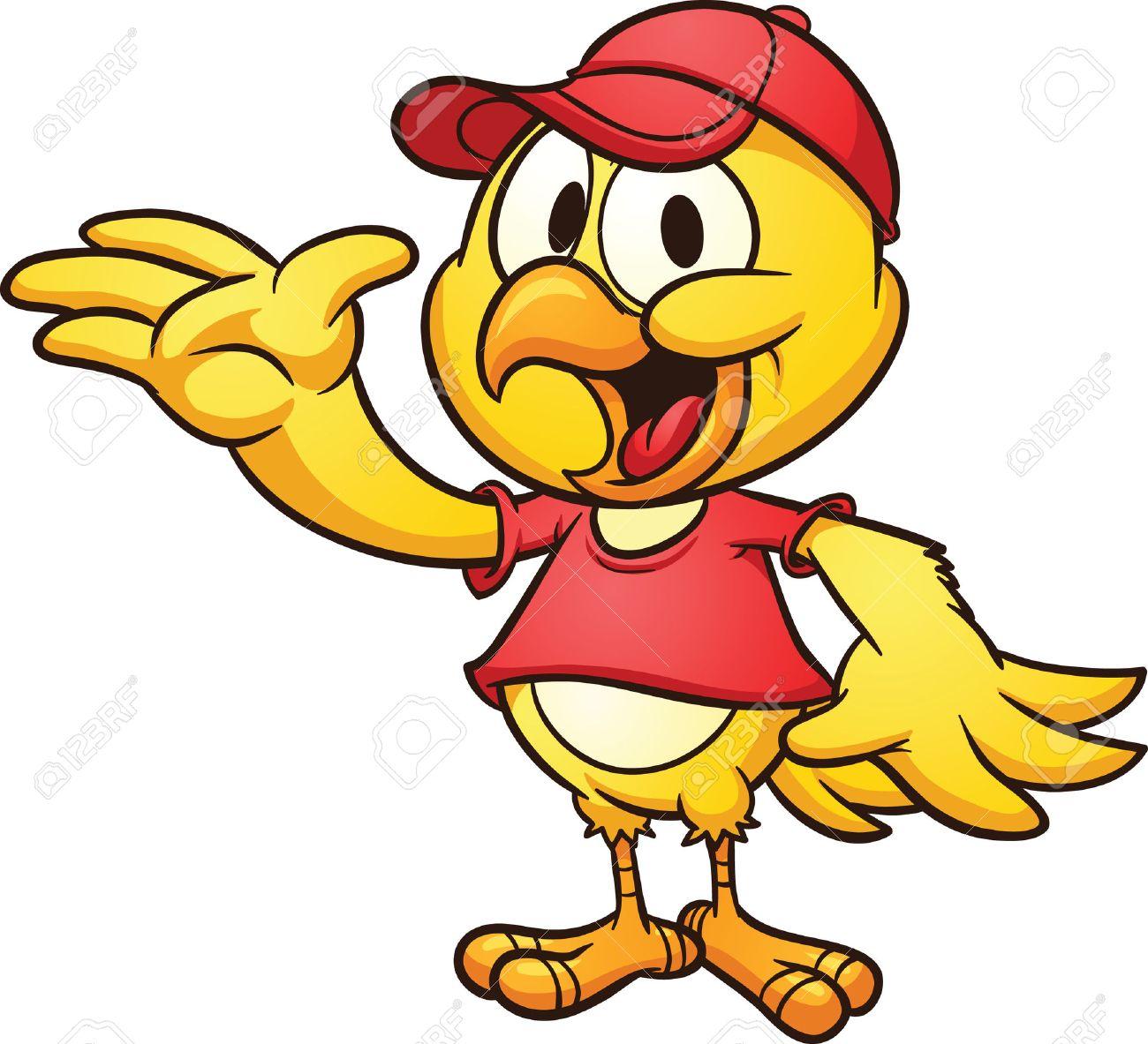 すべて 1 つのレイヤーで野球帽子簡単なグラデーション ベクター漫画イラストを着てかわいい漫画鶏のクリップアートします