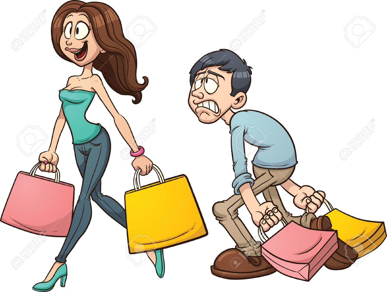 cartoon couple shopping vector clip art illustration with simple rh 123rf com shopping victoria bc shopping victoria bc