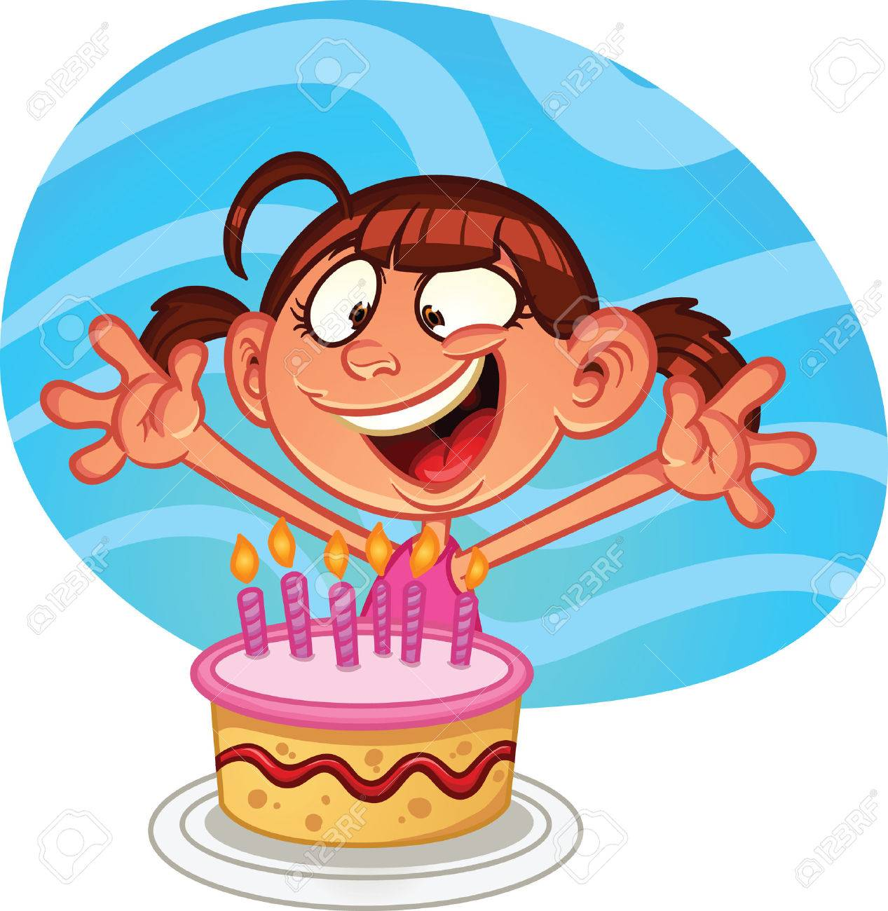 Cartoon Girl With Birthday Cake Vector Clip Art Illustration Simple Gradients And Background On