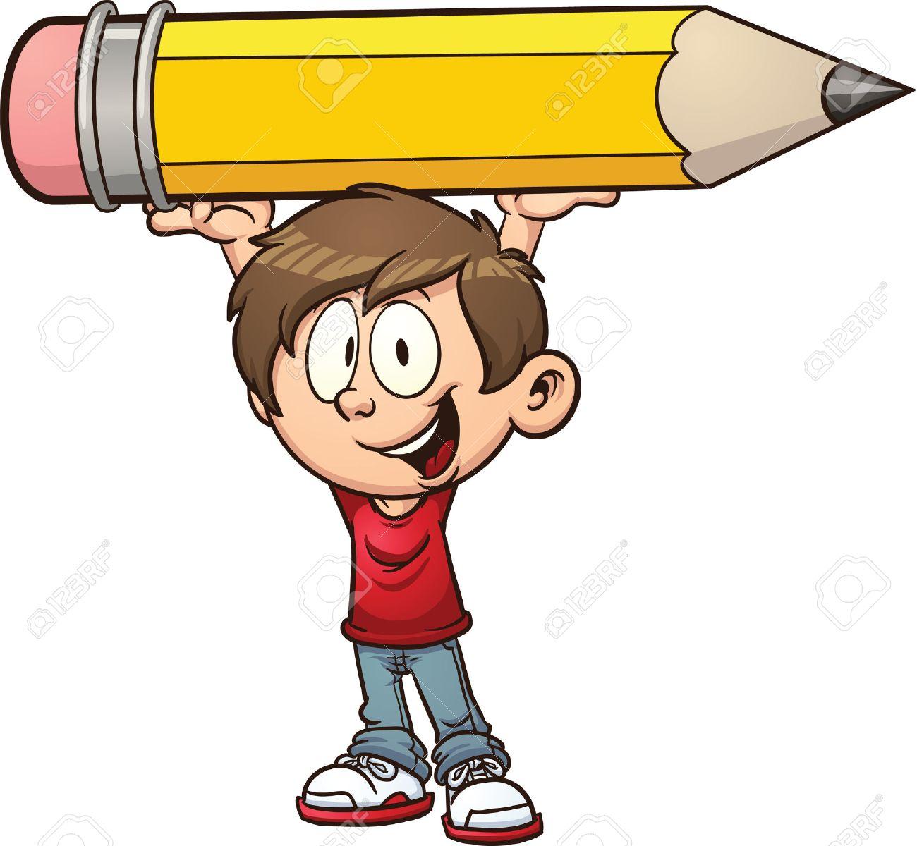 Cartoon boy holding a big pencil stock vector 26584004