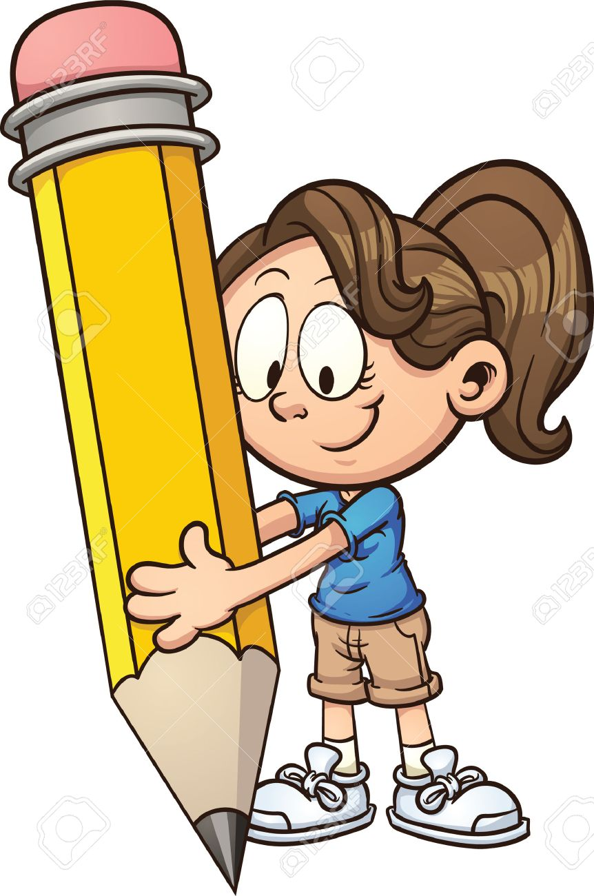 girl writing with a big pencil vector clip art illustration