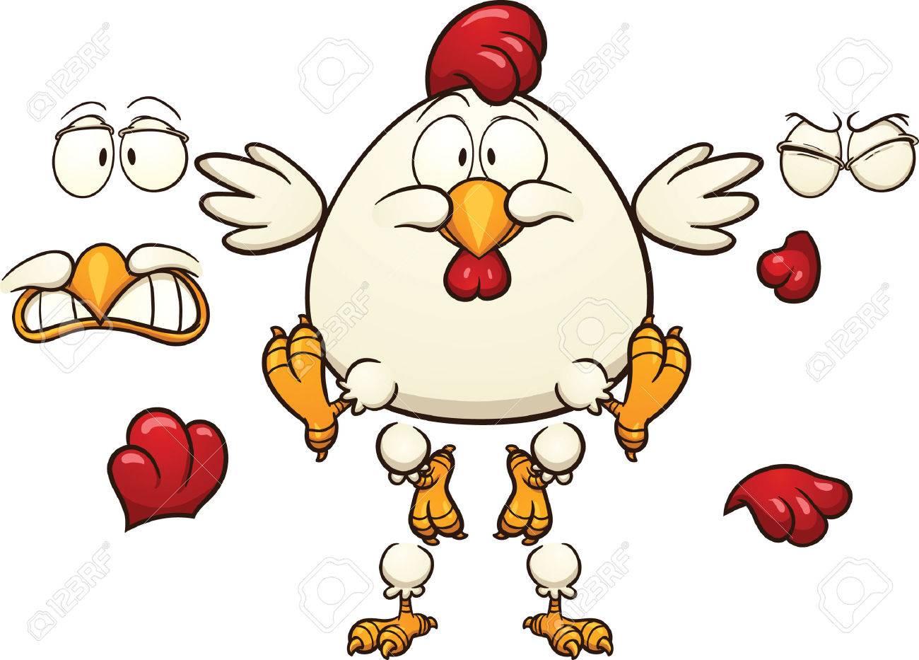 漫画鶏準備ができて簡単なグラデーションとベクトル クリップ アート画像のアニメーションを個別のレイヤー上の各要素