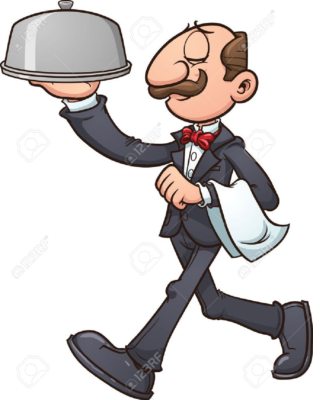 Cartoon waiter Vector clip art  Waiter Clipart