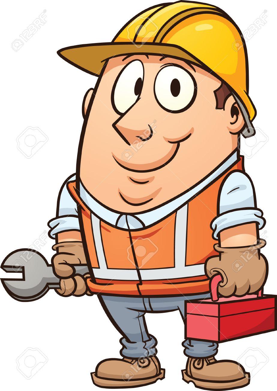Bauarbeiter clipart schwarz weiß  Cartoon Bauarbeiter Vektor Clip-Art-Illustration Mit Einfachen ...