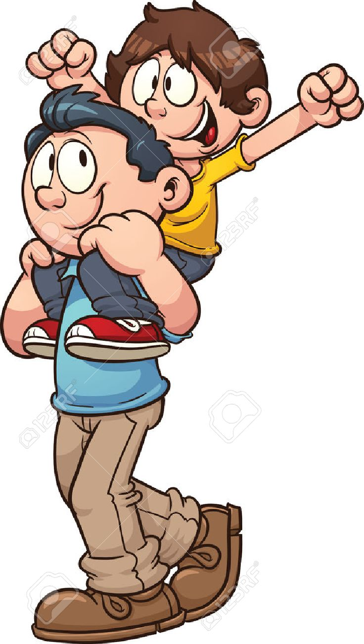 father carrying son on shoulders vector clip art illustration rh 123rf com feather clip art black and white feather clipart images