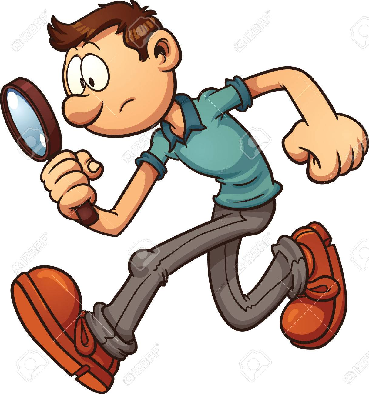 Man searching with a magnifying glass  Vector clip art illustration with simple gradients  All in a single layer Kho ảnh - 28068203