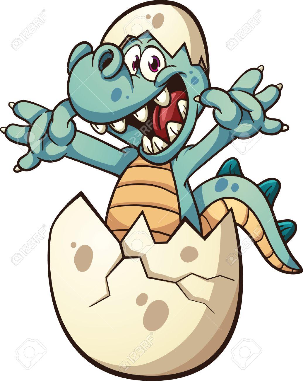 Dinosaur Egg Clip Art Baby dinosaur hatching Vector
