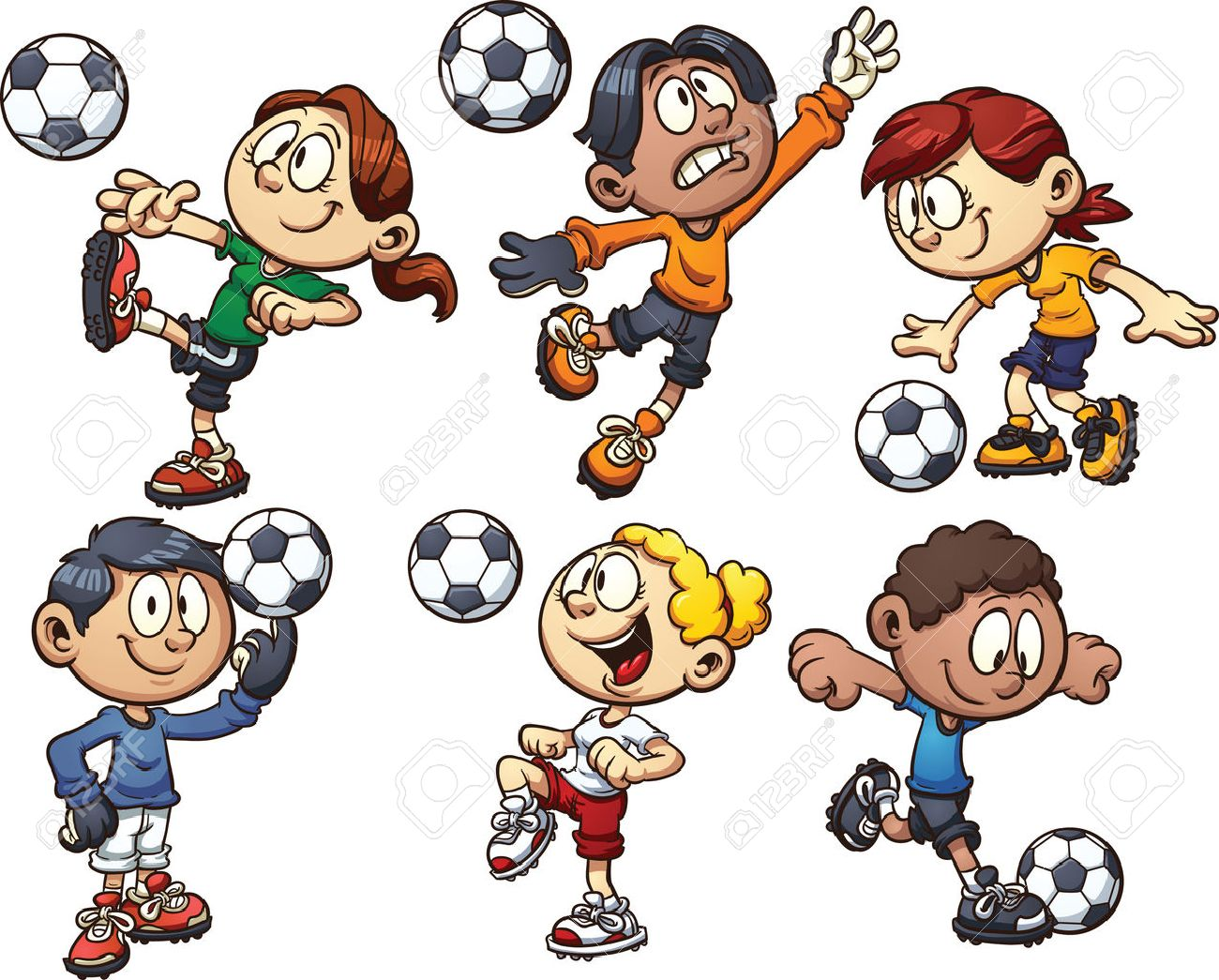 cartoon kids playing soccer vector clip art illustration with simple gradients each on a separate layer - Cartoon Pics Of Kids