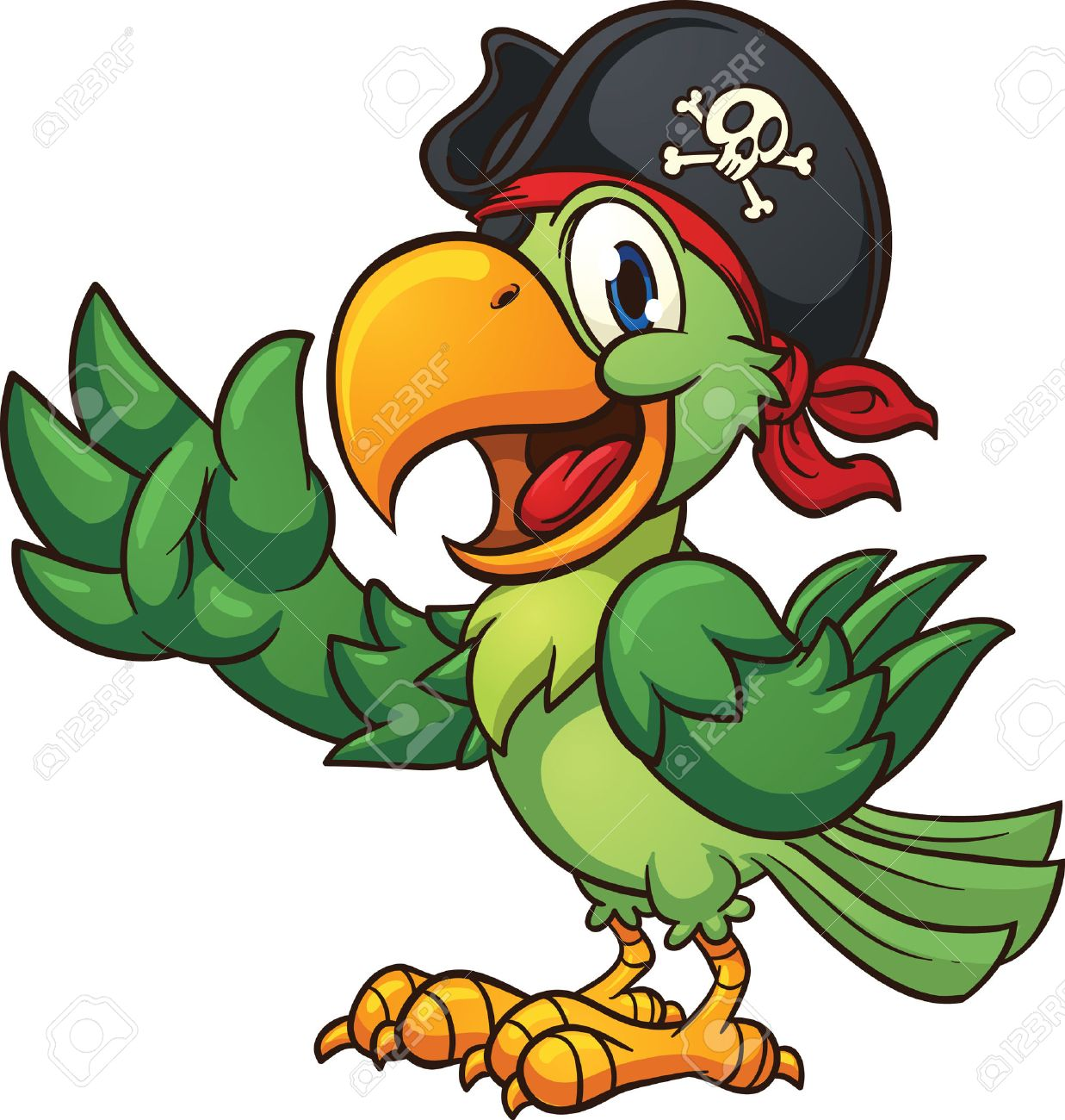 perroquet pirate cartoon pirate perroquet clip art vecteur illustration avec gradients simples tout