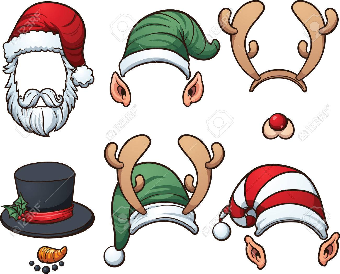 Christmas hats Vector clip art illustration with simple gradients - 30567526