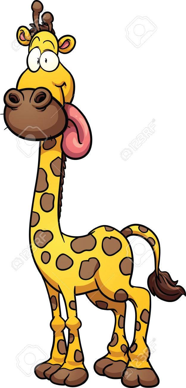 silly cartoon giraffe vector clip art illustration with simple rh 123rf com  cartoon giraffe clipart black and white