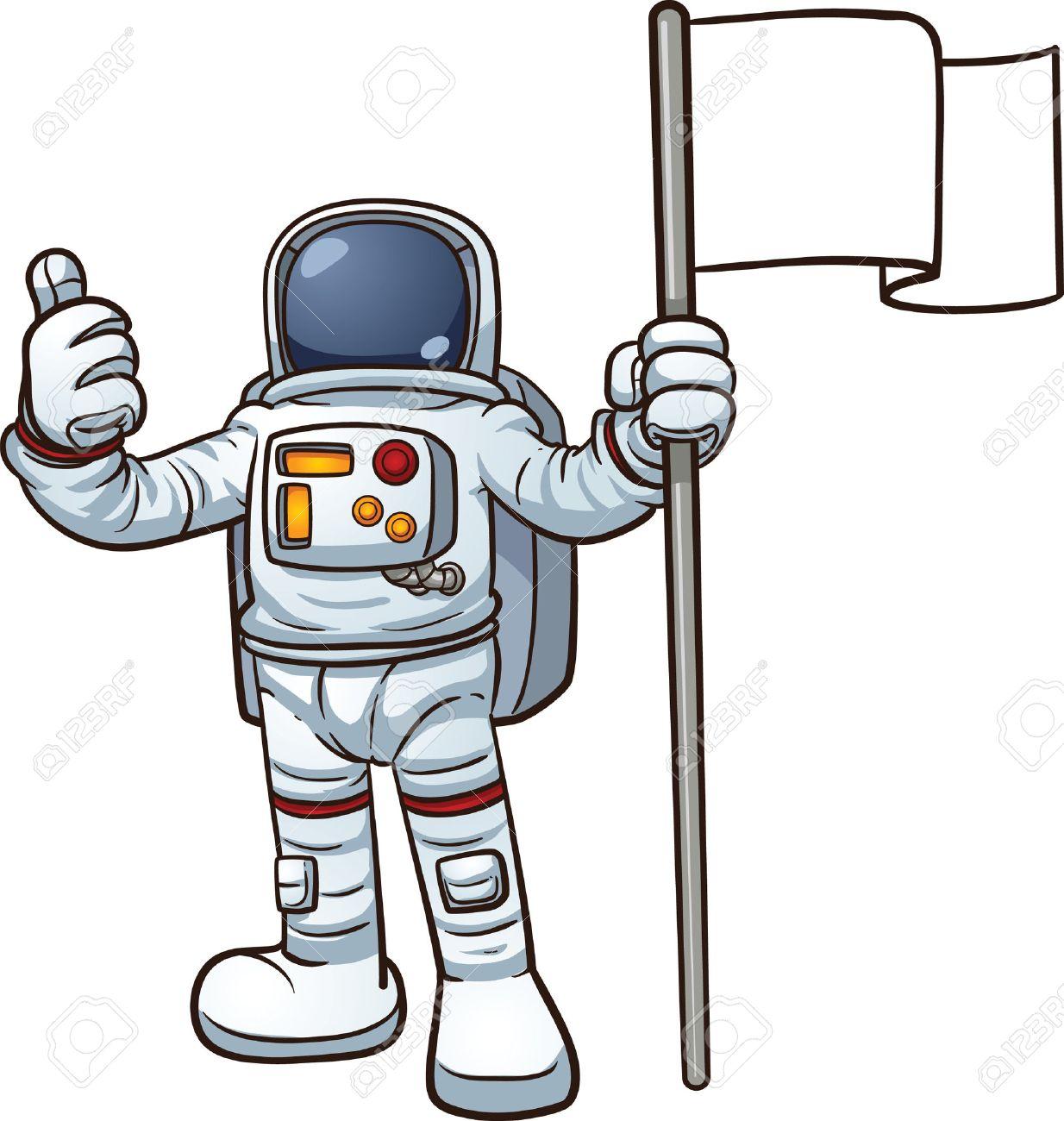 cartoon astronaut with blank flag vector clip art illustration rh 123rf com clip art astronaut name badges clip art astronaut png