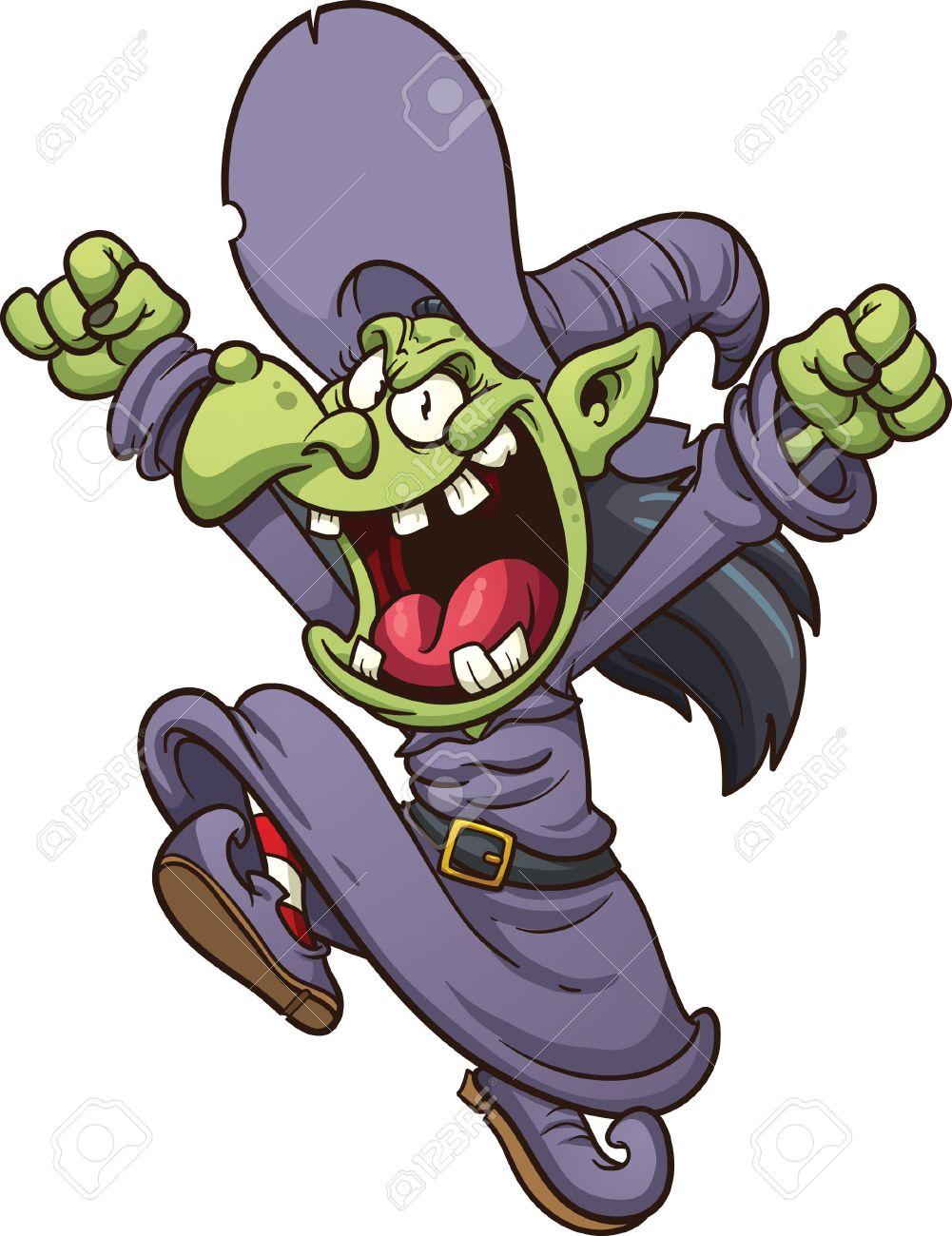 邪悪な漫画の魔女がすべて 1 つのレイヤーで簡単なグラデーション ベクター クリップ アート イラストをジャンプ