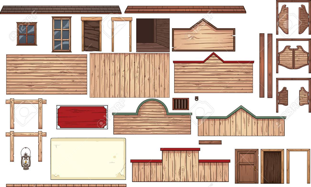 Old wooden door clipart - Old West Town Elements Vector Clip Art Illustration With Simple Gradients Each Element On