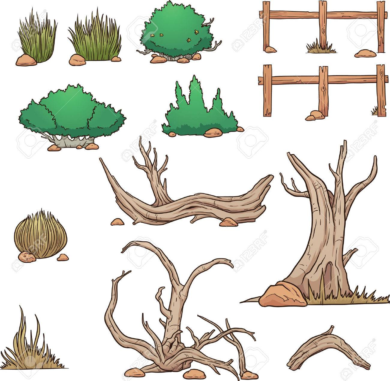 砂漠の要素茂みと枯死木簡単なグラデーション ベクター クリップ