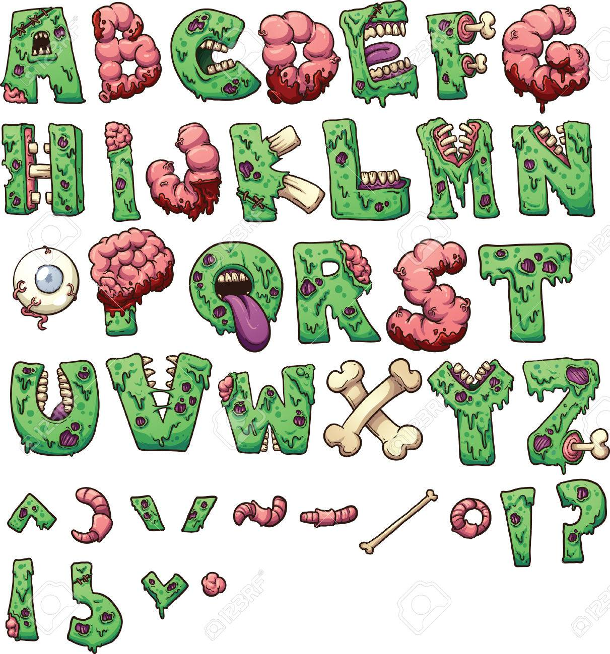 Zombie Letters And Symbols Vector Clip Art Illustration With