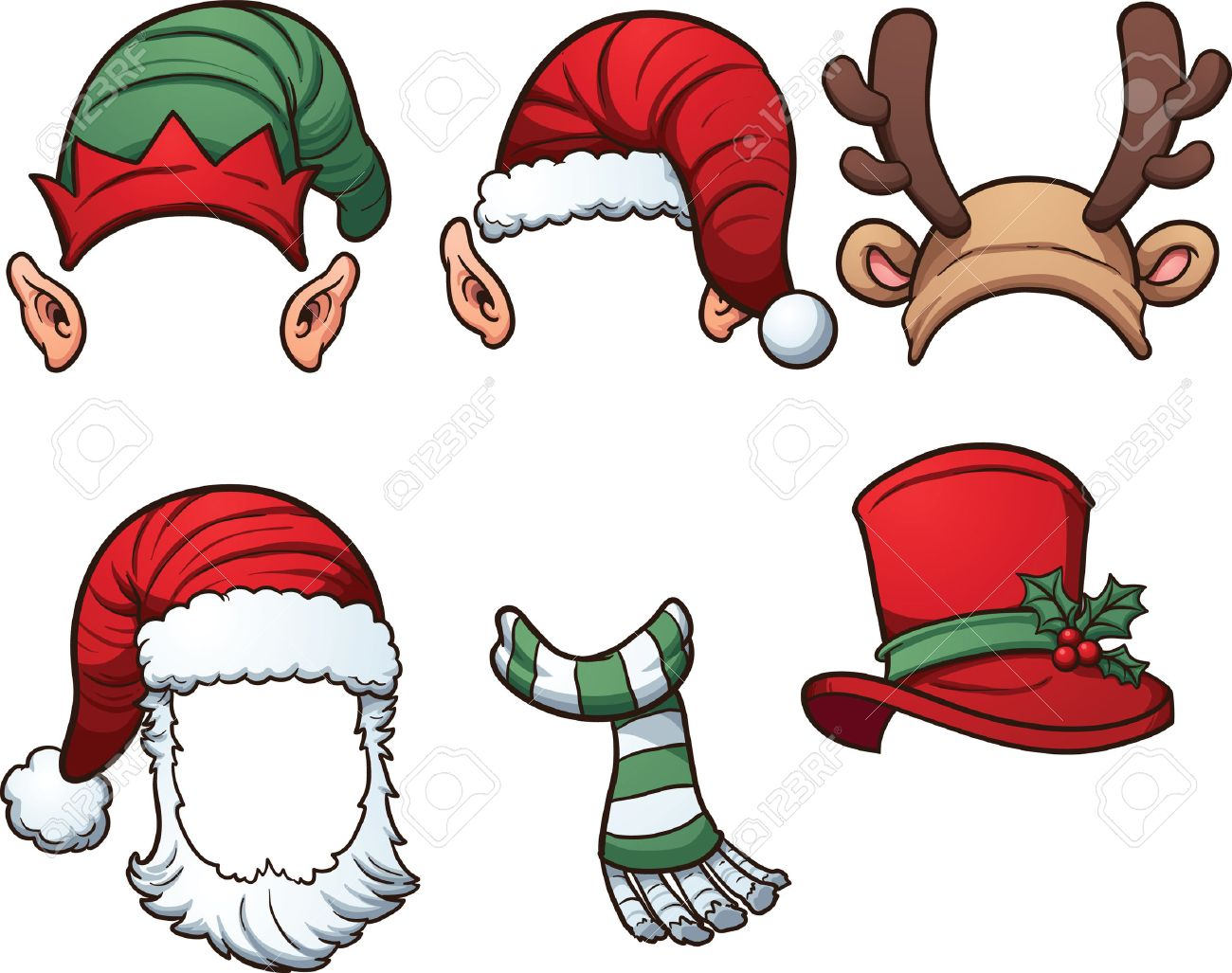 Christmas Hats.Christmas Hats And Scarf Vector Clip Art Illustration With Simple