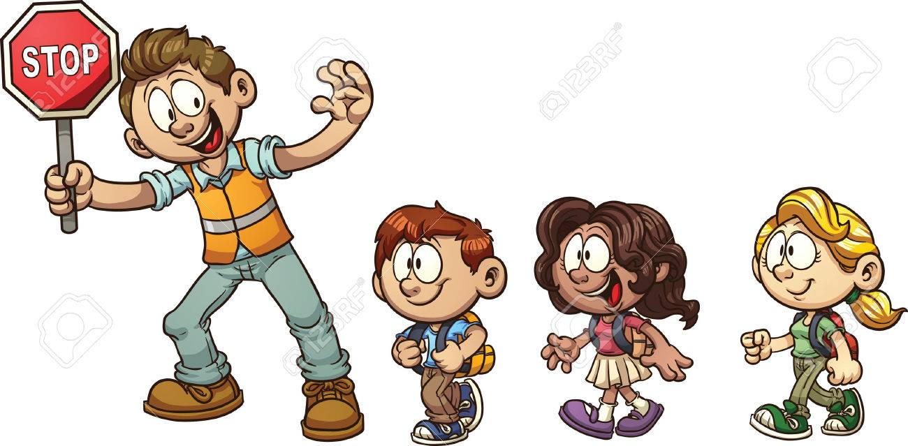 Crossing Guard Helfen, Kinder über Die Straße. Vector Clip Art ...