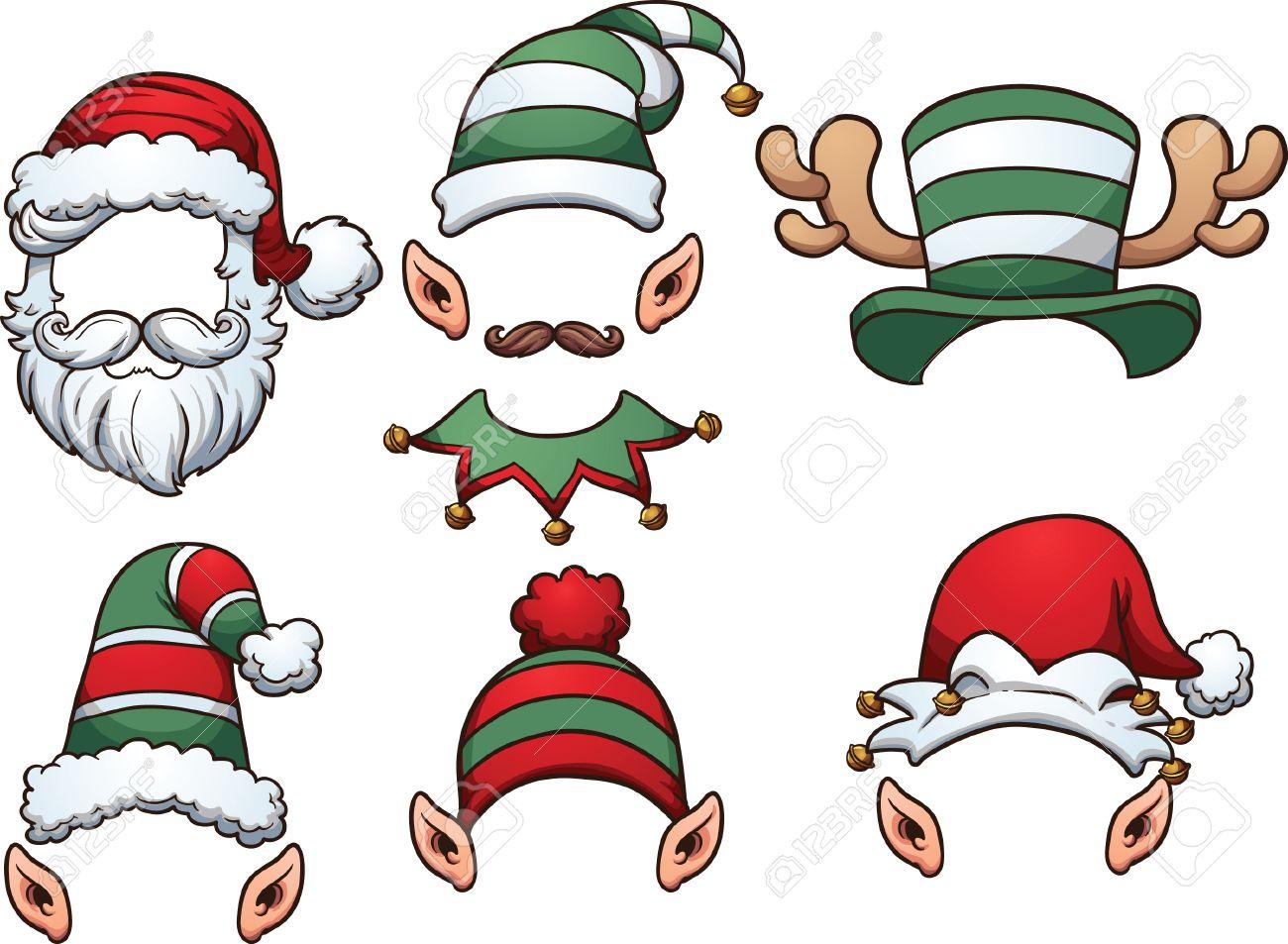 Cartoon Christmas Hats. Vector Clip Art Illustration With Simple ...