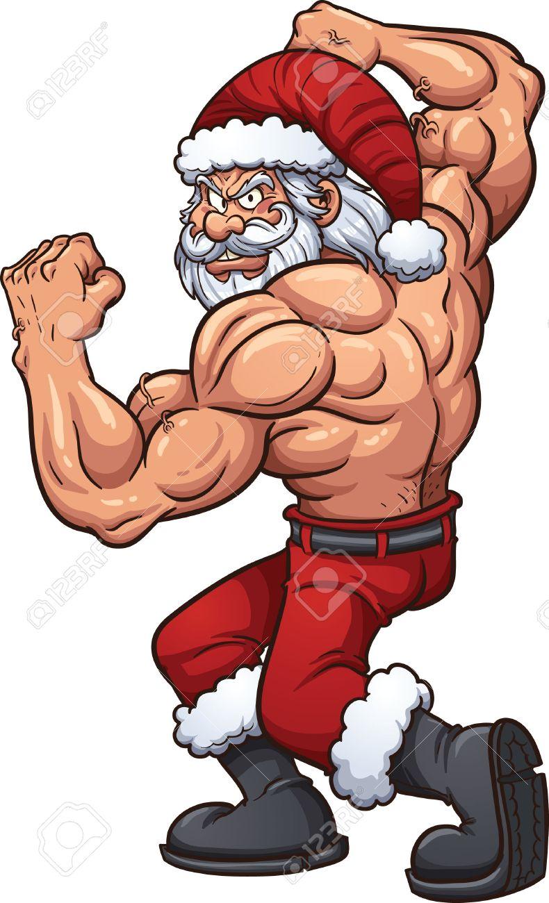 強い漫画サンタ クロース簡単なグラデーション ベクター クリップ