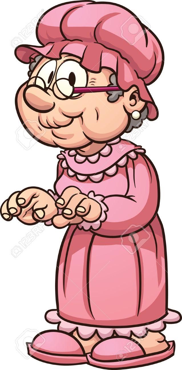漫画おばあちゃんがパジャマを着てします簡単なグラデーション