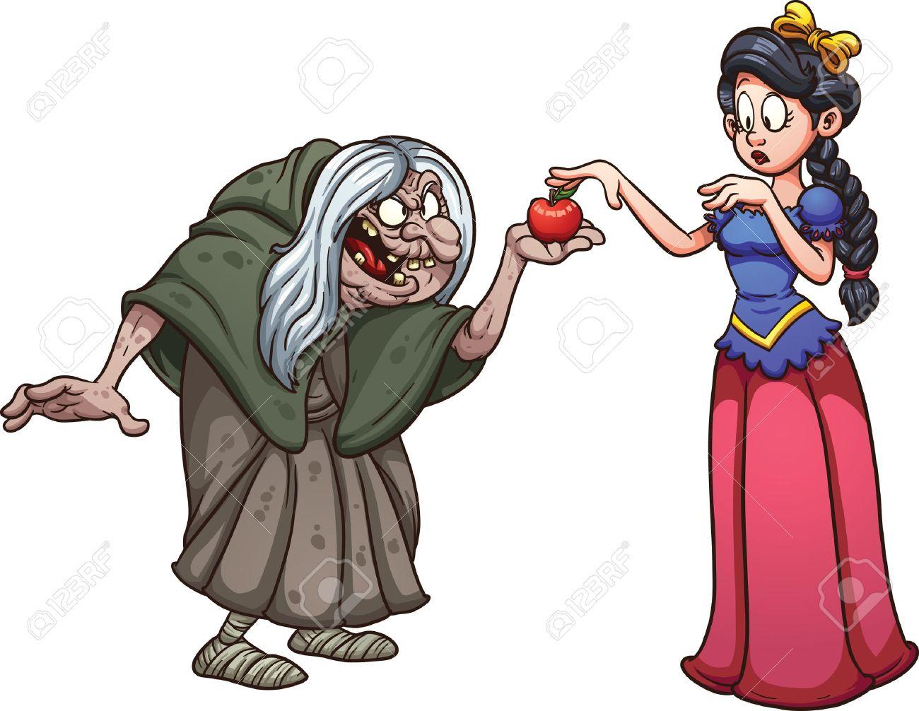 白雪姫のリンゴ昔の魔女から得る簡単なグラデーション ベクター クリップ アート イラスト別のレイヤー上の各