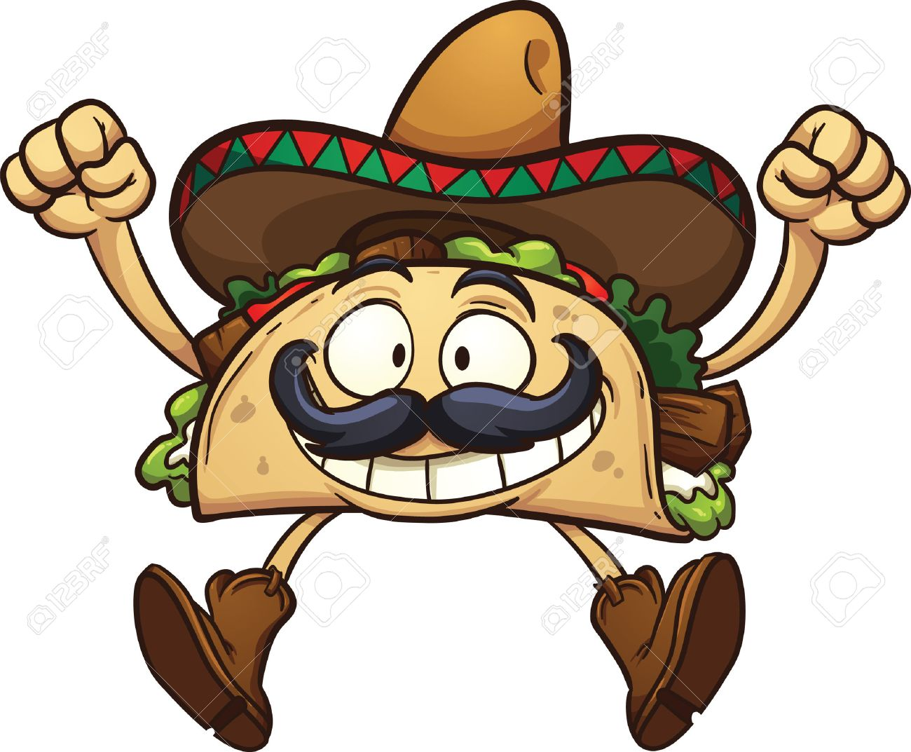 Happy cartoon taco with Mexican sombrero. Vector clip art illustration with  simple gradients. All 3e7594a8887