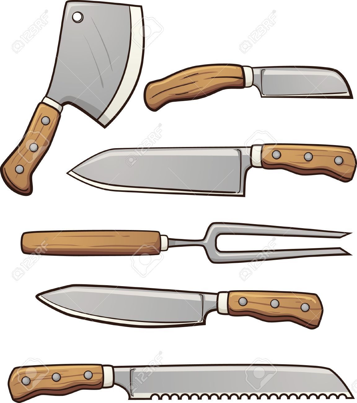 Küchenmesser clipart  Cartoon Küchenmesser. Vektor-Clipart-Illustration Mit Einfachen ...