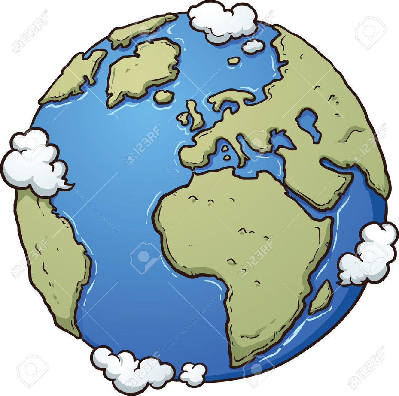 地球を漫画しますシンプルなグラデーション ベクター クリップ アート