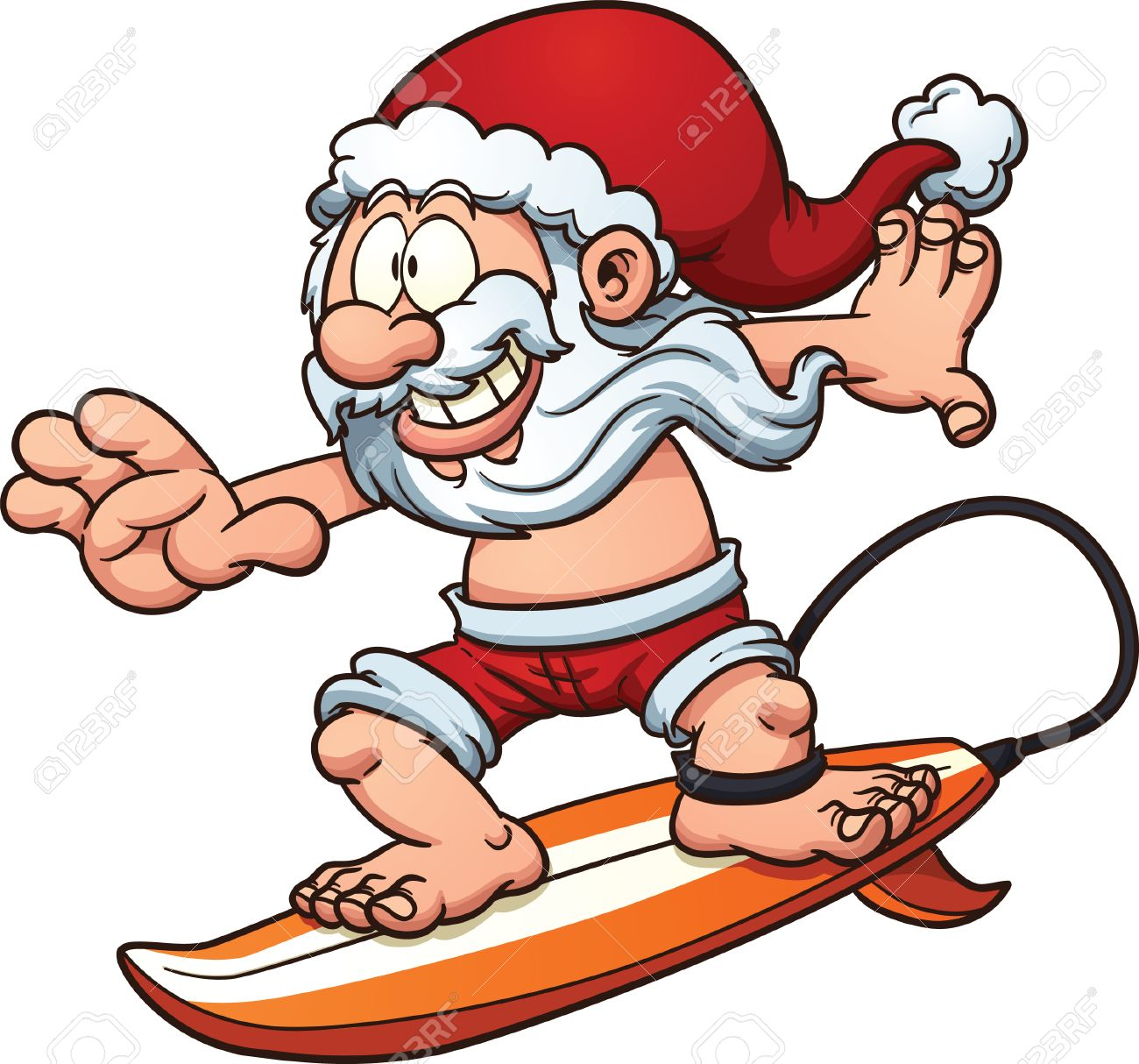 cartoon surfing santa claus vector clip art illustration with