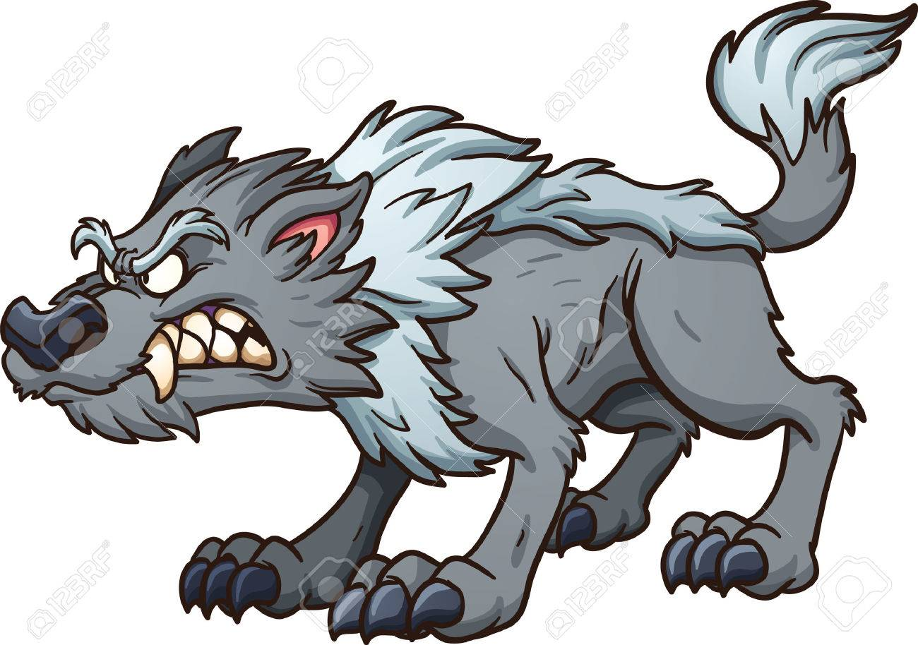 gray cartoon wolf. vector clip art illustration with simple