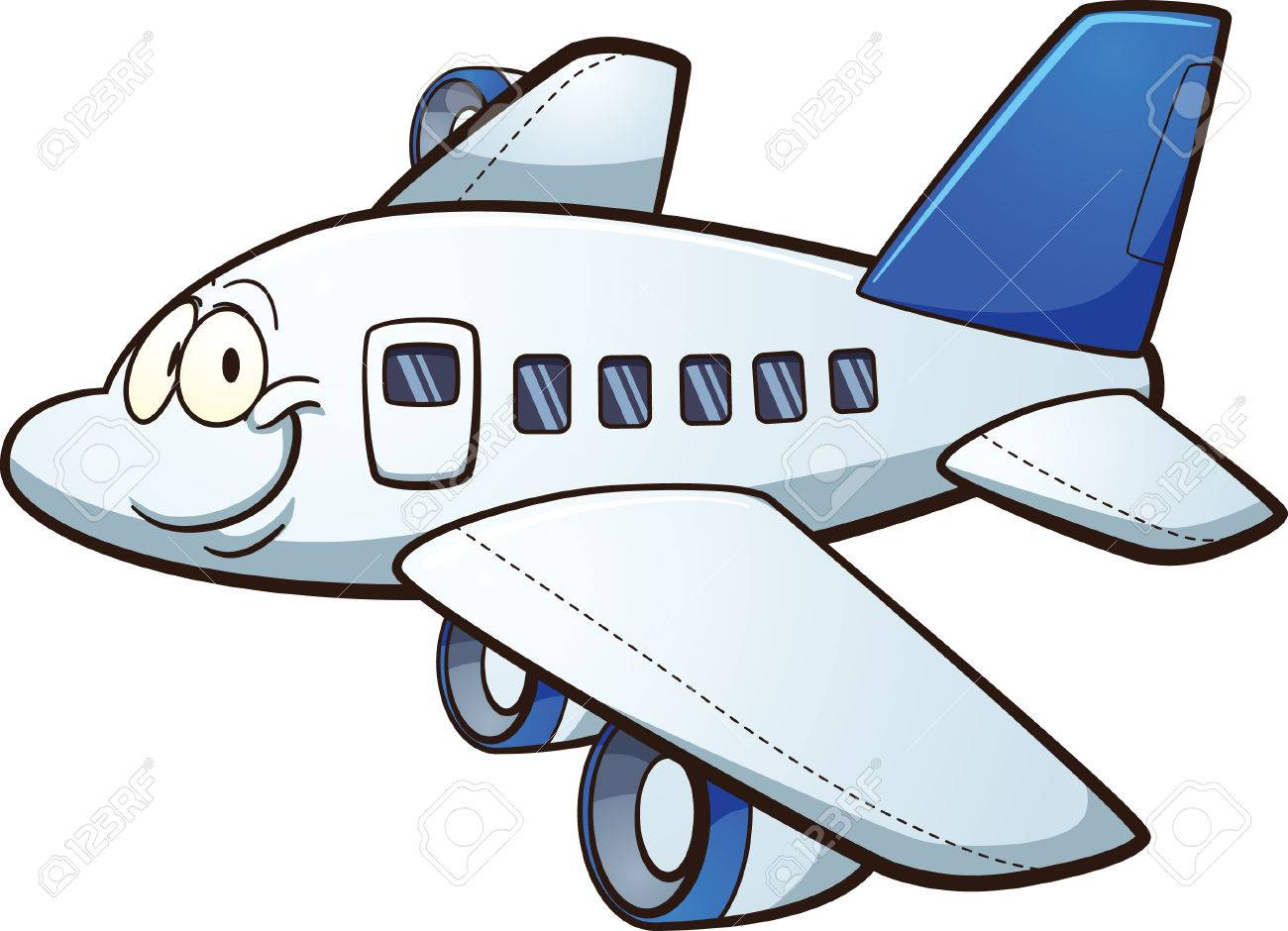 Happy Cartoon Airplane Vector Clip Art Illustration With Simple