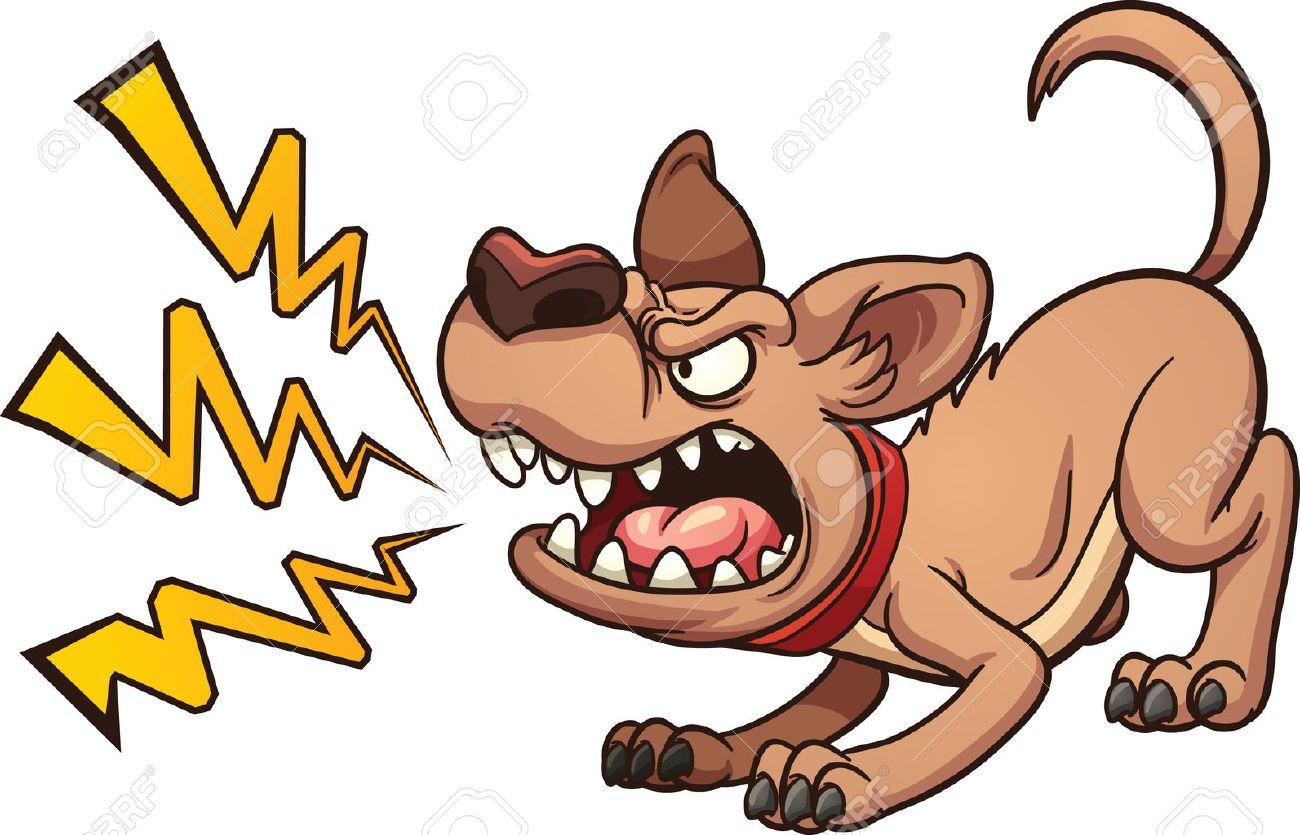 吠える犬を漫画します。シンプルなグラデーション ベクター クリップ