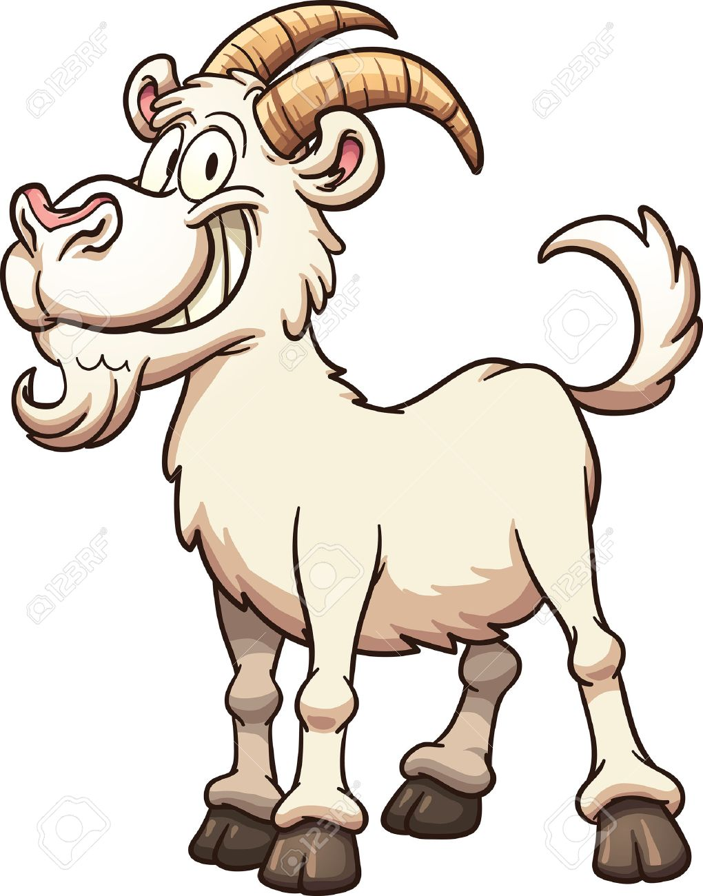 Happy cartoon goat. Vector clip art illustration with simple gradients. All in a single layer. - 44767710