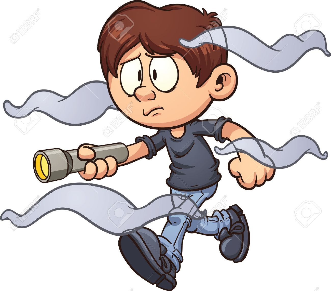 scared cartoon boy with flashlight walking in the fog vector clip art illustration with simple - Cartoon Boy Images Free